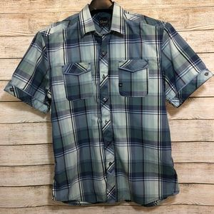 7 Diamonds XL Blue Plaid Button Down Shirt